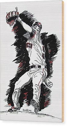 Wood Print featuring the painting Tim Lincecum by Terry Banderas
