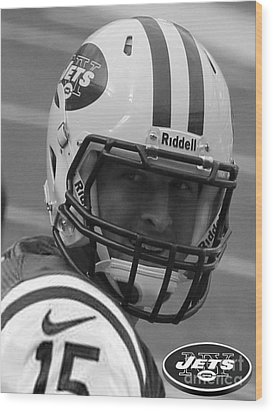 Tim Tebow - Black And White - New York Jets Florida Gators - Timothy Richard Tebow Wood Print by Lee Dos Santos