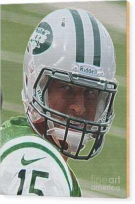 Tim Tebow Art Deco IIi - New York Jets -  Wood Print by Lee Dos Santos