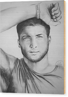 Tim Tebow Wood Print by Madelyn Mershon