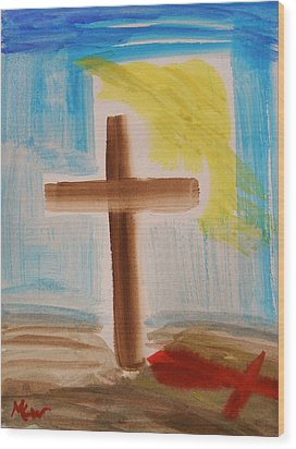 Tim Tebow's Cross-easter Monday Wood Print by Mary Carol Williams
