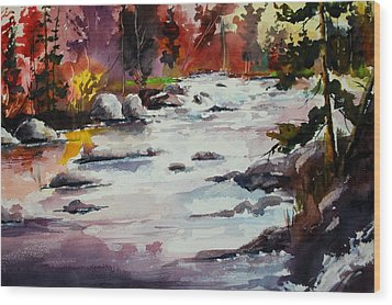 Timber Chute Falls Wood Print by Wilfred McOstrich