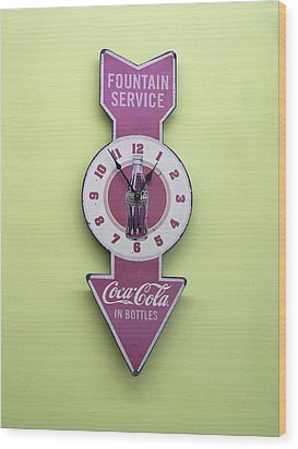 Time For Coke Wood Print by Pamela Patch