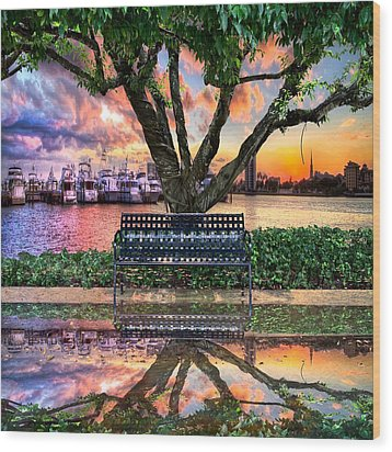 Time For Reflection Wood Print by Debra and Dave Vanderlaan