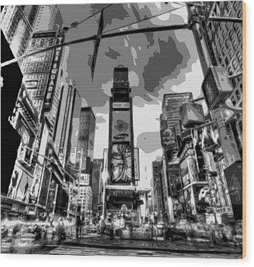 Time Square Bw6 Wood Print by Scott Kelley