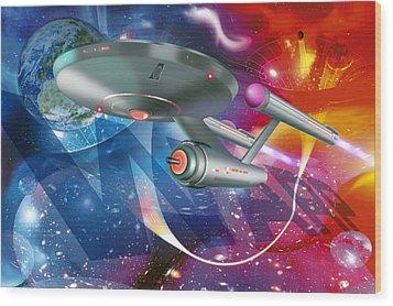 Time Travelling Spacecraft, Artwork Wood Print by Detlev Van Ravenswaay