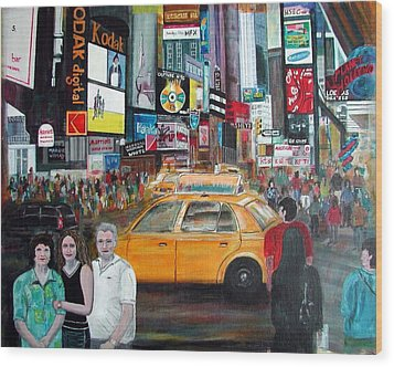 Wood Print featuring the painting Times Square by Anna Ruzsan