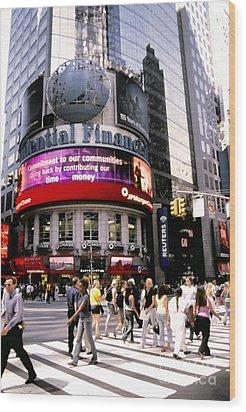 Times Square Corner Wood Print by Linda  Parker