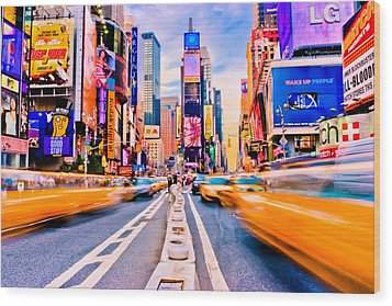 Times Square Wood Print by David Hahn