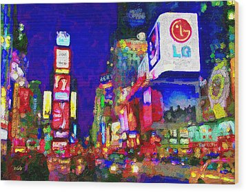 Times Square Wood Print by Michael Petrizzo