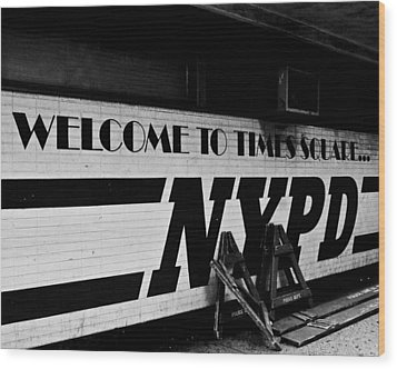 Wood Print featuring the photograph Times Square Nypd by Michael Dorn
