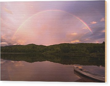 Timing Is Divine Rainbow Over Vermont Mountains Wood Print by Stephanie McDowell