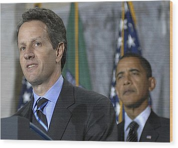 Timothy Geithner Speaks Wood Print by Everett