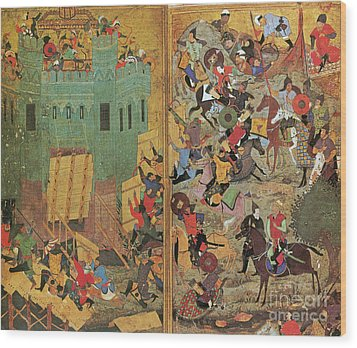 Timur And The Siege Of Smyrna 1402 Wood Print by Photo Researchers