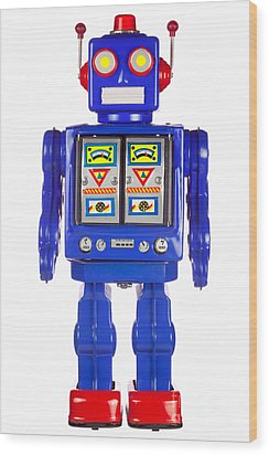 Tin Robot Arms By His Side Wood Print by Richard Thomas