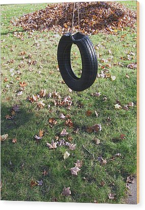 Tire Swing Wood Print by Todd Sherlock