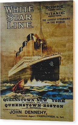 Titanic - White Star Line Wood Print by Bill Cannon