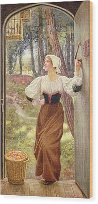 Tithe In Kind Wood Print by Edward Robert Hughes