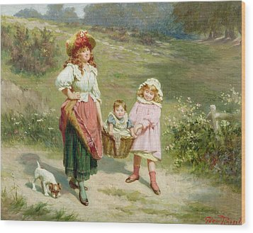 To Market To Buy A Fat Pig Wood Print by Edwin Thomas Roberts