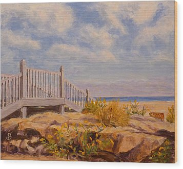 Wood Print featuring the painting To The Beach by Joe Bergholm