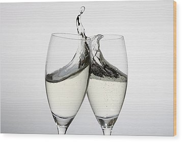 Toasting With Two Glasses Of Champagne Wood Print by Dual Dual