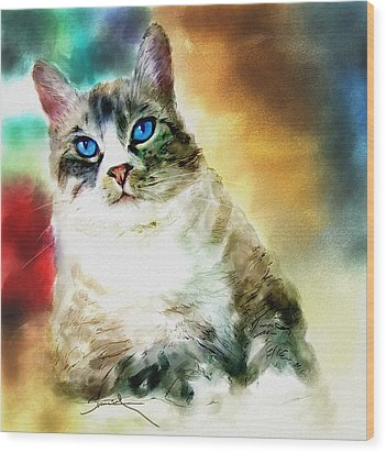 Toby The Cat Wood Print by Robert Smith