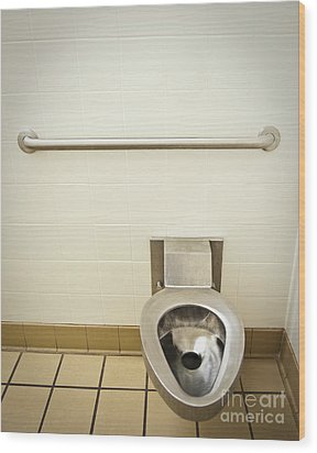Toilet In A Public Restroom Wood Print by Thom Gourley/Flatbread Images, LLC