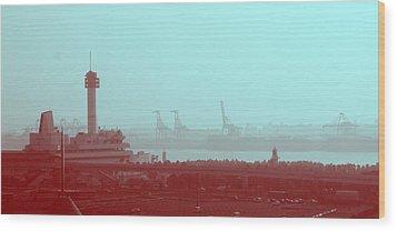 Tokyo Port Wood Print by Naxart Studio