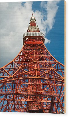 Tokyo Tower Face Cloudy Sky Wood Print by Ulrich Schade