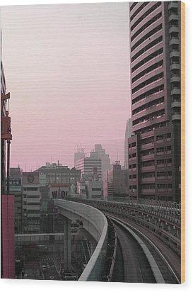 Tokyo Train Ride 6 Wood Print by Naxart Studio