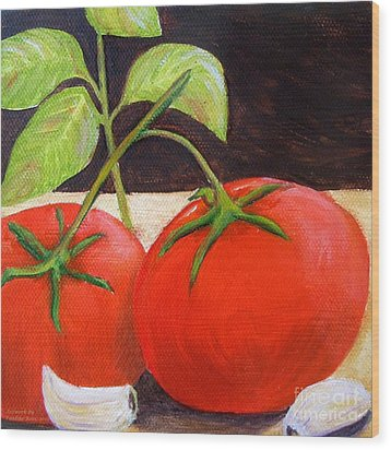Tomato Basil And Garlic Wood Print by Pauline Ross