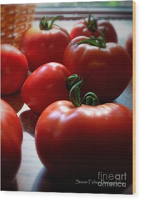 Tomato Love Wood Print by Susan Fisher