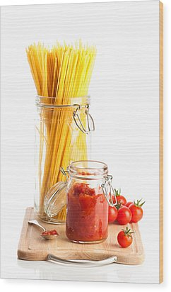 Tomatoes Sauce And  Spaghetti Pasta  Wood Print by Amanda Elwell