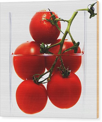 Tomatos Art Abstract Wood Print by Tanja Riedel