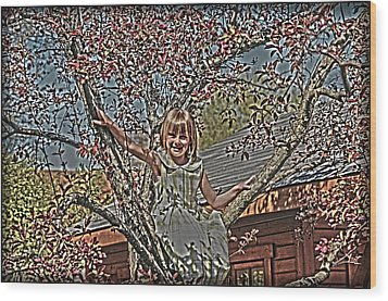 Tomboy In The Tree Wood Print by Randall Branham