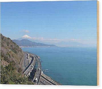 Tomei Expressway With Mt. Fuji Wood Print by Bun Buku