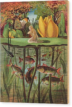 Tommelise Very Desolate On The Water Lily Leaf In 'thumbkinetta'  Wood Print by Hans Christian Andersen and Eleanor Vere Boyle