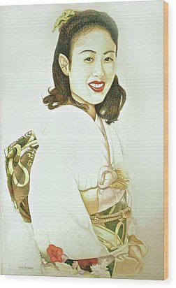 Wood Print featuring the drawing tomomi in Kimono by Tim Ernst
