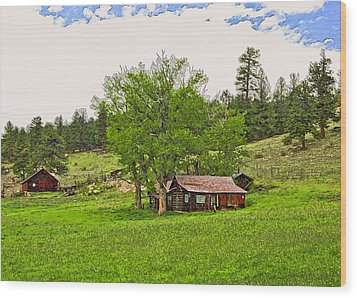 Tom's Old Cabin Wood Print by James Steele