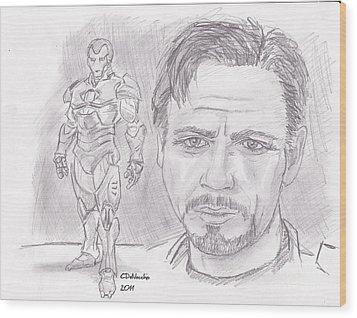 Tony Stark- Ironman Wood Print by Chris  DelVecchio