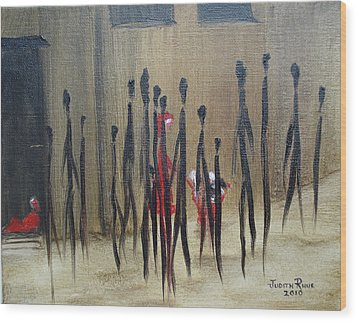 Wood Print featuring the painting Too Busy To Notice by Judith Rhue