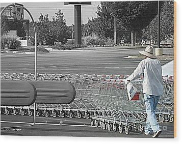 Wood Print featuring the photograph Too Many Carts by Renee Trenholm