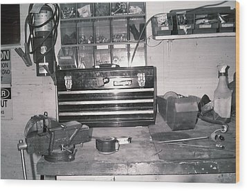 Tool Box And Clamp Work Area Wood Print by Floyd Smith