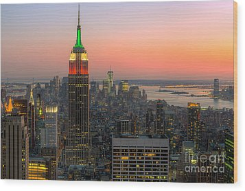 Top Of The Rock Twilight X Wood Print by Clarence Holmes