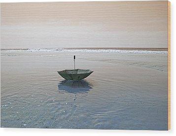 Topsail Floating Umbrella Wood Print by Betsy Knapp