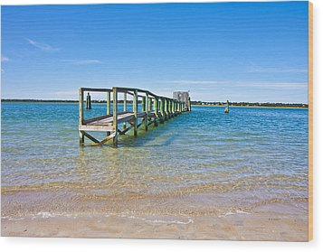 Topsail Island Sound Wood Print by Betsy Knapp