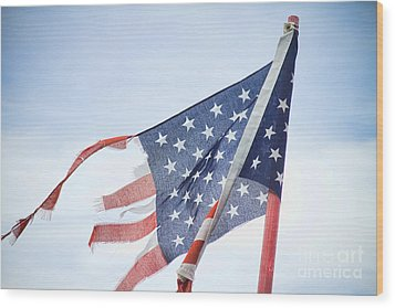Torn American Flag Wood Print by James BO  Insogna