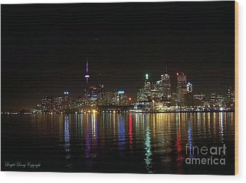Toronto Skyline At Night Wood Print by Lingfai Leung