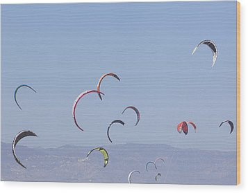 Torremolinos, Spain  Kite Surfing Wood Print by Ken Welsh