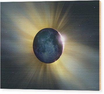Total Solar Eclipse Wood Print by Detlev Van Ravenswaay